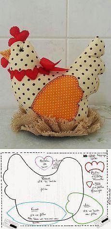 Molde galinha de tecido