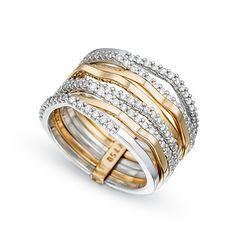 6e65bf4c5a6de Anel Ouro Rosé Ouro Branco e Diamantes