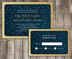 Glitter Starry Night Sky Wedding Invitation & RSVP 2 Piece Suite Gold Modern Script Shabby Chic DIY invitation by LittleBeesGraphics on Etsy https://www.etsy.com/listing/210286269/glitter-starry-night-sky-wedding