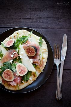 Fig, Pear and Prosciutto Tartine - Savory Simple . I'll pass on the prosciutto . I Love Food, Good Food, Yummy Food, Cooking Recipes, Healthy Recipes, Pear Recipes, Prosciutto, Food For Thought, Food Photography