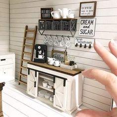 Dollhouse Miniature Kitchen Farm By My Miniature Emporium - Puppen, Häuser, Möbel - Doll House Miniature Rooms, Miniature Kitchen, Miniature Houses, Miniature Furniture, Doll Furniture, Modern Dollhouse Furniture, Mini Kitchen, Plywood Furniture, Painted Furniture