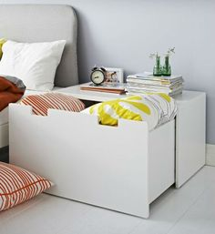 More than just a box! The STUVA bench makes a great bedside table, with a wide surface and storage for extra bedding.