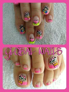 French Pedicure, Mani Pedi, Nail Designs, Nails, Beauty, Model, Toe Nail Art, Little Girl Nails, Kawaii Nails
