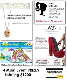Spring Fashionista Events Main Event Sponsors   Enter to win 1200 Dollars in Main Event prizes March 7-13 in the 26,000 dollar 98 blogger Giveaway event.  http://stillblondeafteralltheseyears.com/2013/03/main-event/