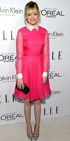 #Emma Stone looked like a total doll in a #Aposia pretty pink Valentino dress