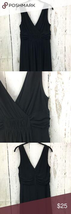 White House Black Market V-Neck/Back Dress Size 12 Classic little black dress. Sleeveless, gathered waist, v-neck/back, back zipper. Dress it up or down. EUC White House Black Market Dresses