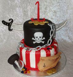 Pirate Birthday Cake  I like how the sword looks like it's going through the cake!