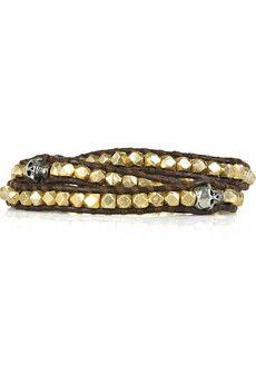 Chan Luu 14-karat gold-vermeil leather skull bracelet | NET-A-PORTER
