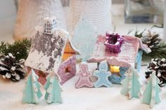 Little christmas village in clay by DiySweden