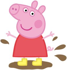 Peppa Pig in Muddy Puddle Transparent PNG Image