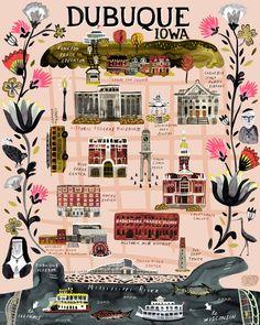 illustrated map - katie vernon art + illustration. dubuque, iowa map illustration