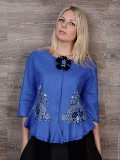 """Купить Жакет """"Лазурные узоры"""" - синий, павловопосадский платок, валяный жакет, жакет женский"""