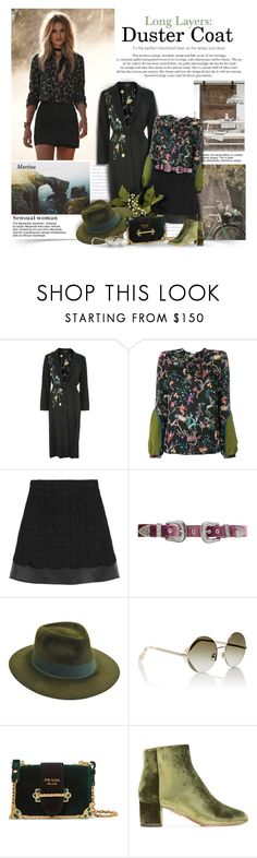 """Duster Coat"" by thewondersoffashion ❤ liked on Polyvore featuring Topshop, Prada, Etro, Giambattista Valli, B-Low the Belt, Larose, Victoria Beckham and Aquazzura"