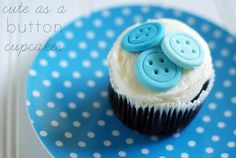 8 Diy Baby Shower Cupcakes - diy Thought. Cute as a button cupcake. Button Cupcakes, Baking Cupcakes, Yummy Cupcakes, Cupcake Recipes, Cupcake Cakes, Cupcake Ideas, Cupcake Toppers, Baby Shower Cupcakes, Shower Cakes