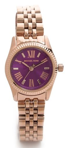 Michael Kors purple petite rose gold watch  http://rstyle.me/n/fxtaqpdpe