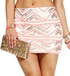 Ivory/Pink/Gold Sequin Chevron Mini Skirt