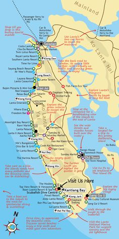 Ko Lanta Map - this map of Ko Lanta in Southern Thailand, features points of local interest including; hotels, resorts, restaurants, bars, shops, ATMs and other shops and services.