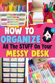 Simple Desk Organization Ideas - Whether your desk is in a home office, bedroom or college dorm room, your desk is probably a cluttered mess. Let's organize your desk into an organized SUCCESS with these easy DIY desk organization ideas - many are Dollar Store organizing ideas for cheap and easy organization on a budget! Desk supplies, pens, paper clutter and more storage solutions to declutter your desk for a clutter free workspace. Stop feeling overwhelmed by all that clutter & get organiz