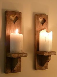 PAIR OF HANDMADE WAXED RUSTIC SHABBY CHIC SOLID WOOD WALL SCONCE CANDLE HOLDERS in Home, Furniture & DIY, Home Decor, Candle & Tea Light Holders | eBay!