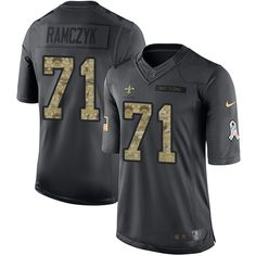 Youth Nike New Orleans Saints #71 Ryan Ramczyk Limited Black 2016 Salute to Service NFL Jersey