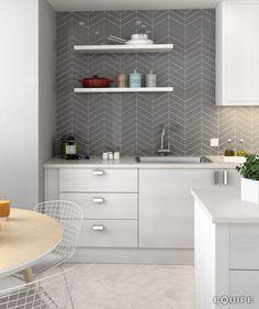 Grey chevron kitchen tiles from Equipe Ceramicas - beautiful skandi vibes kitchen Herringbone Wall Tile, Gray Tile Backsplash, Kitchen Wall Tiles, Grey Tiles, Ceramic Wall Tiles, Kitchen Backsplash, Bathroom Wall, Bath Tiles, Design Bathroom