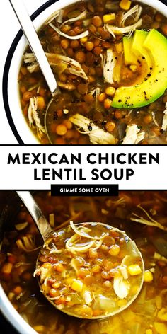 Mexican Chicken Lentil Soup recipe is made with the most delicious zesty flavors, it's a great meal prep or freezer meal, and it's easy to make in either the Instant Pot, Crock-Pot or on the stovetop. Chicken Lentil Soup, Lentil Soup Recipes, Healthy Soup Recipes, Mexican Food Recipes, Cooking Recipes, Mexican Lentil Soup Recipe, Healthy Lentil Soup, Lentil Meals, Vegan Soup