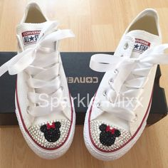Adults Minnie Mouse Style White Converse by SparklemixxBoutique Converse Design, Bling Converse, Bling Shoes, Prom Shoes, Custom Converse, Bedazzled Shoes, White Converse, Mickey Mouse Converse, Rhinestone Converse