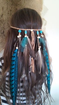 Turquoise Princess 2 Feather headband native by WildandFreePeople