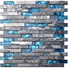 5 кв.фут. (примерно 0.46 кв. м) стеклянная плитка стены блокировка серый мрамор синее море фартук плитка