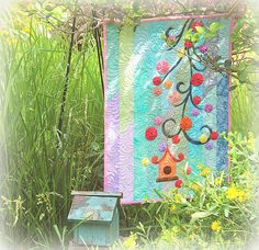 "Displayed in the Aurifil booth during International Quilt Market was this stunning quilt ""Counting My Blessings"" by Wendy Sheppard from Ivory Spring using her new collection thread Subtle Springs.  To read more please visit https://ivoryspring.wordpress.com/2015"