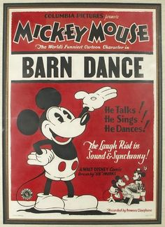 Mickey Mouse Barn Dance Poster Sold by Dan Morphy Auctions for twenty-five thousand dollars Vintage Disney Posters, Vintage Cartoons, Disney Movie Posters, Classic Movie Posters, Vintage Disneyland, Vintage Mickey, Disney Films, Disney Cartoons, Vintage Movies