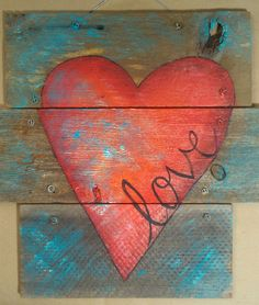 rustic heart wall decor x love heart on rustic wood wall decor door decor original art rustic metal heart wall decor Heart Decorations, Valentine Decorations, Valentine Crafts, Valentine Ideas, Pallet Crafts, Pallet Art, Wood Crafts, Pallet Signs, Rustic Wood Wall Decor