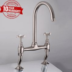 DBS Traditional Kitchen Sink Bridge Mixer Tap With Cranked Legs & Twin Cross Head Handles, Brushed Steel Finish Kitchen Spray Taps, Brushed Steel Kitchen Taps, Kitchen Sink Taps, Kitchen Diner Lounge, Open Plan Kitchen Diner, Bathroom Store, Bathroom Taps, Cheap Kitchen, Buy Kitchen