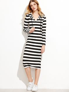 Shop Contrast Striped Hooded Dress online. SheIn offers Contrast Striped Hooded Dress & more to fit your fashionable needs.