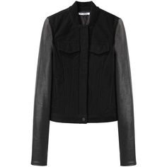 T by Alexander Wang Jean Jacket with Leather Sleeves ($680) ❤ liked on Polyvore