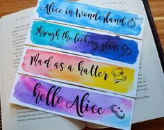 Watercolor Quote, Watercolor Bookmarks, Watercolor Projects, Watercolor Cards, Creative Bookmarks, Cute Bookmarks, Paper Bookmarks, Diy Collage, Homemade Bookmarks
