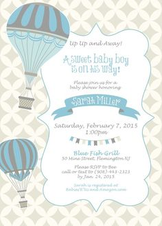 20 Trendy Ideas For Baby Shower Invitations Vintage Hot Air Balloon Boy Baby Shower Themes, Baby Shower Invitations For Boys, Baby Shower Balloons, Birthday Balloons, Baby Boy Shower, Birthday Invitations, Baptism Invitations, Baby Shower Table Centerpieces, Baby Shower Decorations