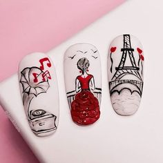 of Nail Designs Ideas, Nail Art Trends, Tips, & Nail Celebrity Culture Latest Nail Designs, Latest Nail Art, Nail Designs Pictures, Cute Nail Designs, Ongles Pin Up, Paris Nails, Paris Nail Art, Nail Art Instagram, Nail Drawing
