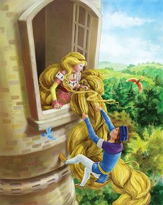 Rapunzel by Grimms Fary Tales German Fairy Tales, Grimm Fairy Tales, Rapunzel Story, Fary Tale, Childhood Stories, Classic Fairy Tales, Golden Hair, Disney, Stories For Kids