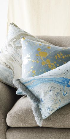 Sumptuous and chic, these velvet Metallic Splatter Cushions will bring a sense of glamour to your living room.