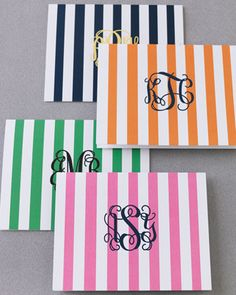 Personalized Striped Note Cards
