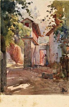 João Alves de Sá (1878-1972) - Espigueiro - Aguarela