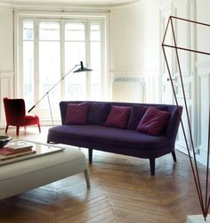 Cozy Sofa - B Italia I like the Aubergine color of the couch with natural floors