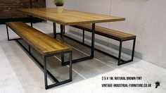 Wood Top Metal Legs Industrial Dining Table