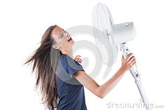 Young Woman Cooling Herself Under Wind Of Cooler Fan Isolated On White Background Stock Image - Image of eyes, electric: 32577883 Eye Images, Tower Fan, Young Women, Electric, Stock Photos, Woman, Eyes, Women, Cat Eyes