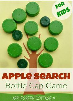 apple hunting activity for kids using plastic bottle caps