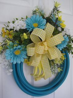 GARDEN HOSE WREATH Turquoise Yellow Gerberas Spring Flowers Summer Decoration- Free Shipping