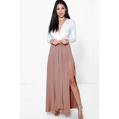 Boohoo Night Tia Pleated Slinky Maxi Skirt ($35) ❤ liked on ...