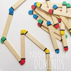 DOMINOS | make your own dominos with paddle pop sticks + paint | Miss2 quickly caught on how to play, matching colours, whilst Miss4 created shapes & letters | Did you hear my exciting news? A Crafty LIVing / @oliviasfoster is on Facebook! | plenty of great arts, craft & activities to come - link in profile | #craftyliving #craftylivingkids