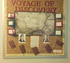 """Lewis & Clark Themed Bulletin Board! Incorporates interactive flaps with information about the expedition, map of the route, pictures of Lewis & Clark, and """"journals"""" from the journey by Lewis & Clark in the hanging envelopes for students to pull out and read."""